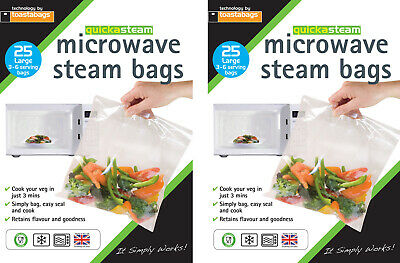 50 x Microwave Steam Steamer Bags Large Size Bags Healthy Cooking by Toastabags