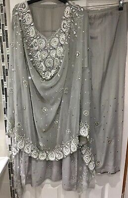 Shalwar Kameez 14-16 Suit Pakistani Salwar Wedding Lengha Grey Kurta Indian