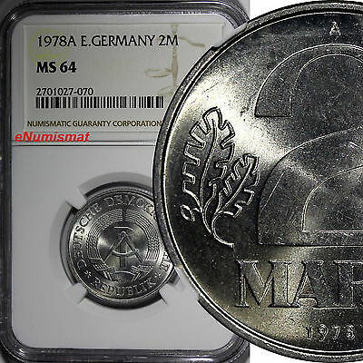 German-Democratic Republic Aluminum 1978-A 2 Mark NGC MS64 TOP GRADED KM# 48