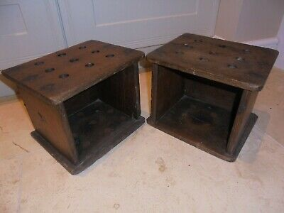 Pair of antique Dutch Church foot warmers, quirky wooden shelves, display,