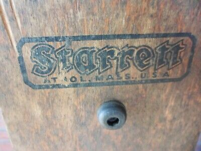 """Very vintage No.20 Starrett Precision Machinist Square in Orig. Wood Stand (24"""")"""