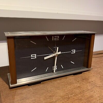 Metamec Mid Century Modern Mantle Clock Teak Bauhaus Working