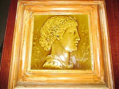 Antique Mintons China Works Stoke on Trent Green Glazed Relief tile Ext Rare