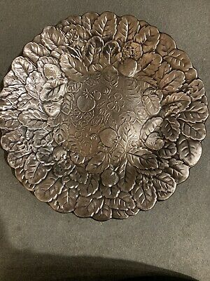 """Vintage/ Antique Reed & Barton Strawberry Old Colony Silver Plated Tray 13"""" #115"""