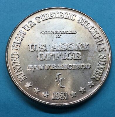 1 OZ 1981 U.S ASSAY OFFICE SAN FRANCISCO CC 999 Fine SILVER TRADE UNIT ROUND