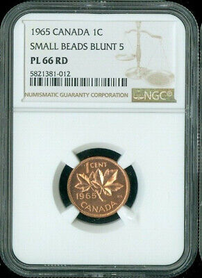1965 Canada 1 Cent Ngc Pl66 Rd Small Beads Blunt 5