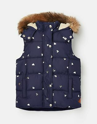 Joules Girls Rhea Hooded Gilet  - NAVY HEARTS