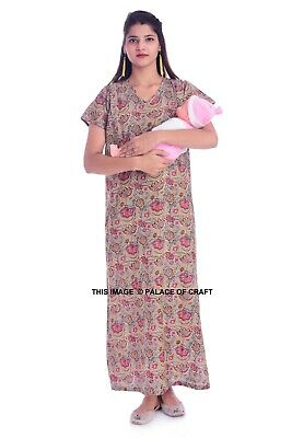 Cotton Ethnic Comfortable Gown Maxi Mother Care Maternity Breastfeeding Nightie