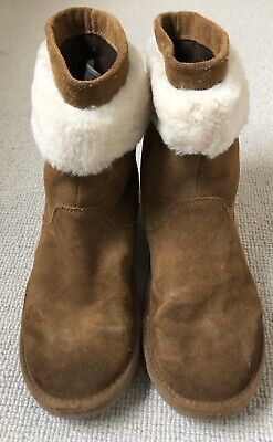 UGGS Girls Boys Brown Tan Sheepskin Suede Leather Ankle Boots UK 3 EU 34