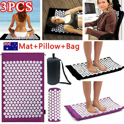 Yoga Acupressure Massage Mat w/Pillow for Stress/Pain/Tension Relief Body XM