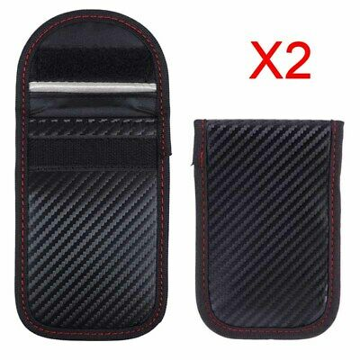 2x Car Key Signal Blocker Case Pouch Bag Faraday Cage Keyless RFID Blocking Wrap