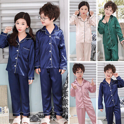 Girls&Boys Silk Satin Pajamas Pyjamas Kids Children Sleepwear-Set Nightwear Kits