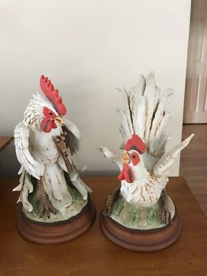 Vintage Napcoware Ceramica Creativa PAIR of Fighting White Roosters #9468