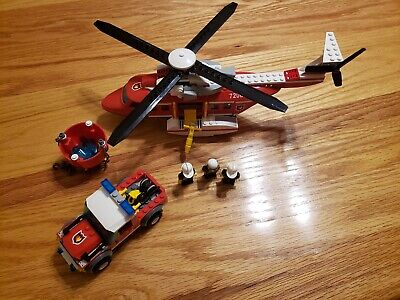 Lego 7206 City Fire Helicopter with truck - Includes Manuals and 3 Minifigures