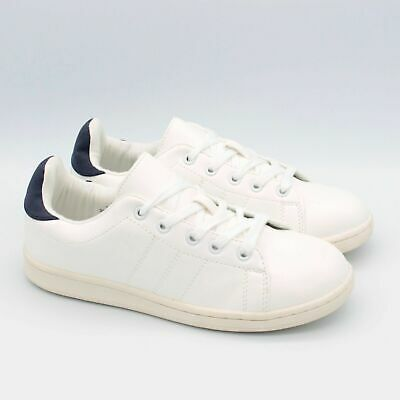 New M&S Girls Womens Ladies White Canvas Trainers Top Casual Gym Lace Up Size