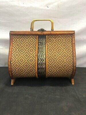 Vintage 1960's Hand Carved Wooden Purse handbag Embossed Wicker, woven