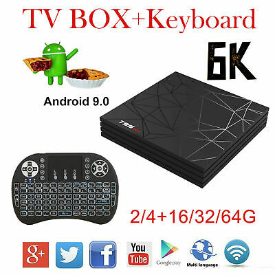 2019 T95 Max Android 9.0 Pie 6K 2/4+16/32/64G Quad Core Smart TV Box + Keyboard