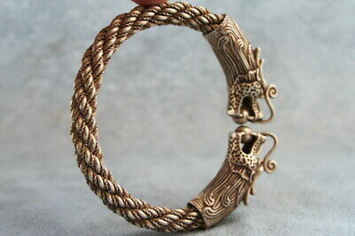 Collectable Gorgeous Miao Silver Carved Two Dragon Bite Beads Exquisite Bracelet