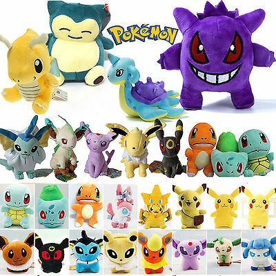 Toys Stuffed Pokemon Pikachu Eevee Squirtle Gengar Plush Teddy Collection Gifts