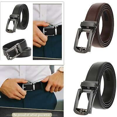 Genuine Leather Belt For Men Ratchet Belt Adjustable Autonomic Belt Buckle US