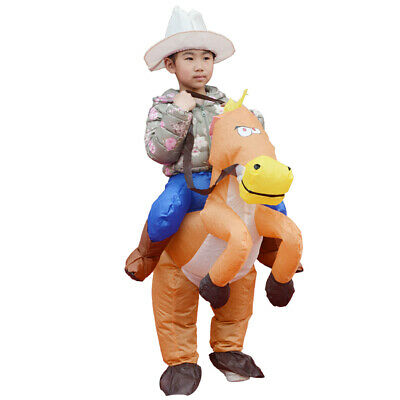 Kids Cowboy Costume Inflatable Horse Fancy Dress Props Halloween Birthday Gifts