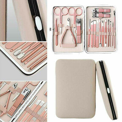 18pcs Manicure Pedicure Set Stainless Nail Clippers Kit Cuticle Grooming Case YL