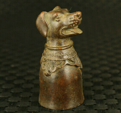 Asian bronze hand carved dog statue wine cup collectible noble decoration