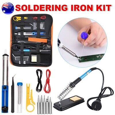 60W Electric Soldering Iron Kit Solder Welding Tools Rework Stand Carry Case AU