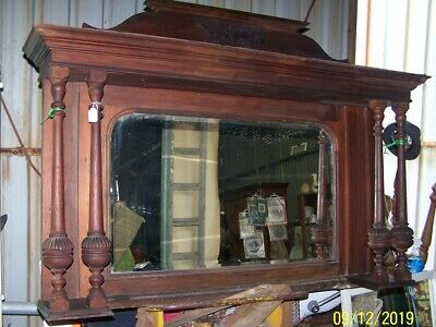 Victorian, Fabulous Arts/Crafts Wooden Over Mantle...w/Bevelled Mirror....c.1900
