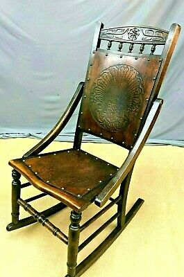 Stunning Arts & Crafts Bentwood Thonet Rocking Chair Engraved Crafted Wood