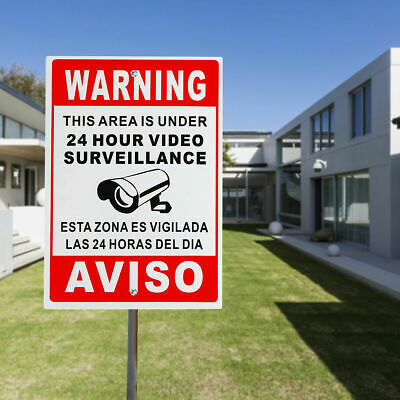 Warning Sign 24 Hour Video Surveillance Security Metal CCTV Camera Sign 30X20CM