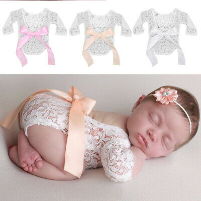 Baby Girl Baby Clothing Newborn Photography Props Big Bow Bodysuit Lace Romper