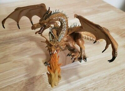 PAPO Fantasy 2005 Two Headed Fire Breathing Yellow Gold Dragon Curled Wing