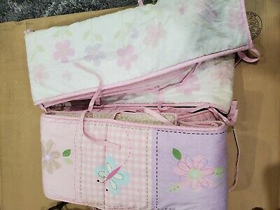Two Floral crib Bed Bedding Bumper Pad Soft..