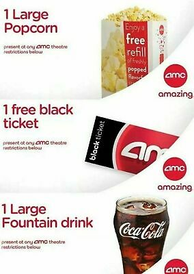 AMC Theaters 1 Large Popcorn & 1 Large Drink Expires 6/30/2020 Digital Delivery