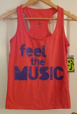 Zumba Wear Electrify Racerback Top Coral Size Large NEW Free Shipping
