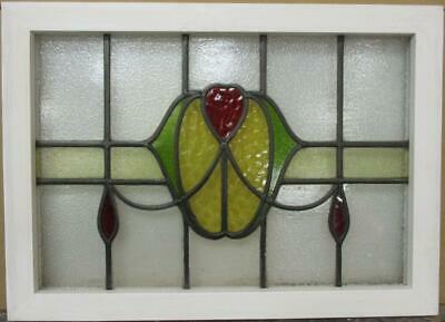 "OLD ENGLISH LEADED STAINED GLASS WINDOW TRANSOM Pretty Swag 27.25"" x 19.75"""
