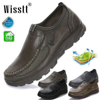 Men's Comfy Leather Casual Pull On Shoes Work Driving Nonslip Loafers Moccasins