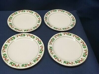 Gibson Everyday Holly Berry Christmas Charm  Dessert Plates Set of 4