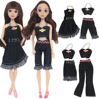 For Barbie Doll Clothes Girl Black Cowboy Suit Casual Outfit Dresses+Tops+Pants
