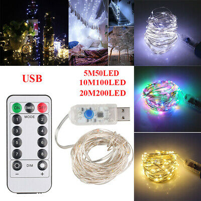 ⭐50//100//200LED USB Remote Copper Wire String Xmas Fairy Light 8 Modes