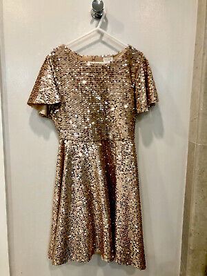 Zara Girls Rose Gold Sequence Party Dress Size 9 NWT - Gorgeous and Soft.