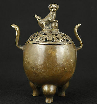 Chinese Old Bronze Collectable Handwork Carved Dragon Incense Burner Ornament