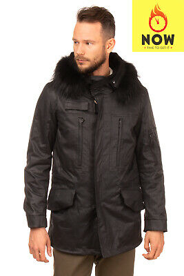 MENS ADIDAS NEO Coated S90298 Black Winter Zip Parka Jacket