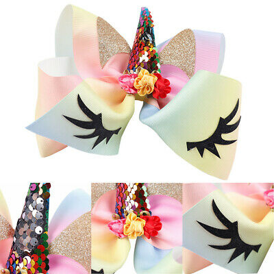 Children Party Headwear Girls Hairpins Unicorn Bows Hair Clips Glitter Ears