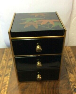 Retro Chinese Black Lacquer Box Jewellery Make Up  Mirror 3 Drawers Gilded