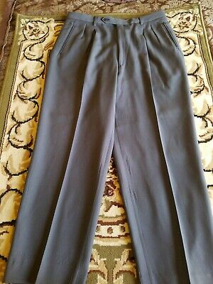 Enzo Tovareh Gray   Virgin Wool Lined  Fine Italian Quality Pleated Pants 34X28!