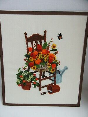 Finished Crewel Embroidery Autumn Gardening Flower Chair Completed 14x16