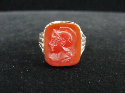 Antique Roman Carnelian Intaglio Gold Ring Early To Medieval Period