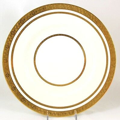 "S SET 6 RAISED GOLD ENCRUSTED 9/"" PLATES VINTAGE MINTON CHINA K128 CREAM WHITE"
